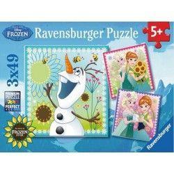 92451 - Puzzle Frozen, 3 x 49 piezas, Ravensburger