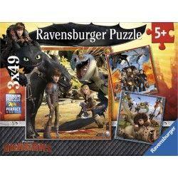 92581 - Puzzle Dragones, 3 x 49 piezas, Ravensburger