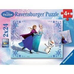 091157 - Puzzle Frozen, 2 x 24 Piezas, Ravensburger