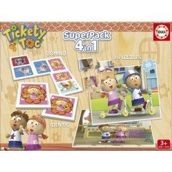 16381 - Puzzle Superpack Tickety Toc 4 en 1, Educa