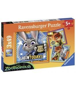 9404 - Puzzle Zootrópolis, 3 x 49 piezas, Ravensburger
