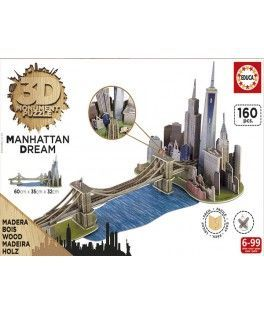 17000 - Puzzle 3D Manhattan Dream, 160 piezas, Educa