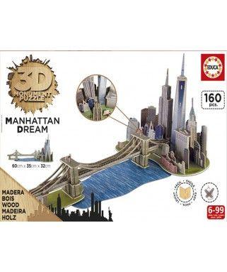 17000 - Puzzle 3D Manhattan Dream, 160 piezas, Educa