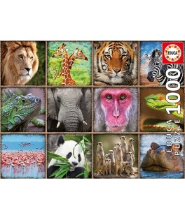 17656 - Puzzle Collage de Animales Salvajes, 1000 piezas, Educa