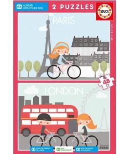 17726 - Puzzle París y Londres, Sos Aldeas Infantiles, 2 x 48 Piezas, Educa