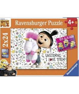 7811 - Puzzle Agnes y los Minions, 2 x 24 piezas, Ravesnburger