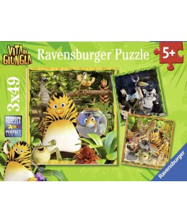 8010 - Puzzle Los Amigos de la Jungla, 3 x 49 piezas, Ravensburger