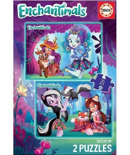 17932 - Puzzle Enchantimals, 2 x 20 piezas, Educa