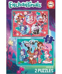 17934 - Puzzle Enchantimals, 2 x 100 piezas, Educa