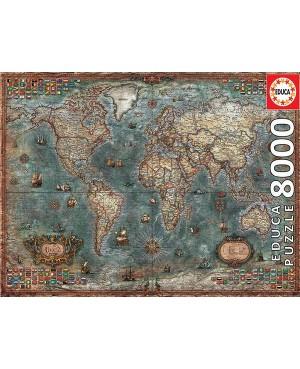 18017 - Puzzle Mapamundi Histórico, 8000 piezas, Edauca