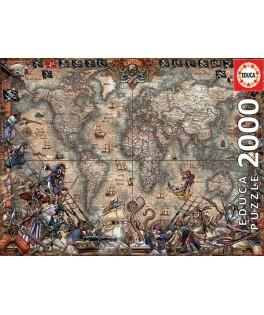 18008 - Puzzle Mapa de Piratas, 2000 piezas, Educa