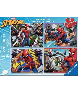 6914 - Puzzle Spiderman, 4 x 100 piezas, Ravensburger