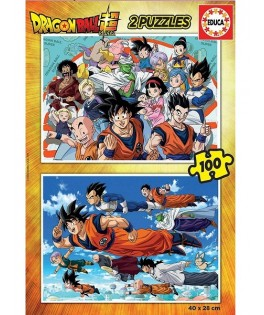 18214 - Puzzle Dragon Ball, 2 x 100 piezas, Educa