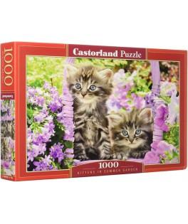 104086 - Puzzle gatitos en jardín de verano, 1000 piezas, Castorland