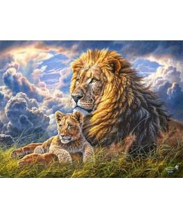 104277 - Puzzle como padre como hijo leones, Abraham Hunter, 1000 piezas, Castorland