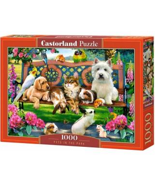 104406 - Puzzle mascotas en el parque animales, 1000 piezas, Castorland
