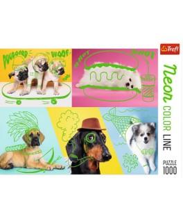 10578 - Puzzle neon linea de colores de perros, 1000 piezas, Trefl