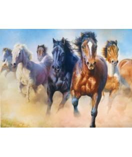 27098 - Puzzle manada de caballos al galope, 2000 piezas, Trefl