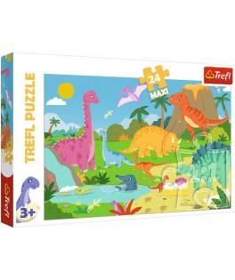 14284 - Puzzle Dinosaurios, 24 piezas Maxi, Trefl