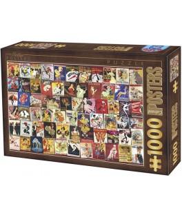 67555VP12 - Puzzle Coloección Vintage de Posters de Cabaret, 1000 piezas, D Toys