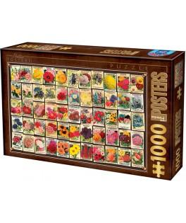 74492 - Puzzle Collage de Flores Vintage, 1000 piezas, D Toys