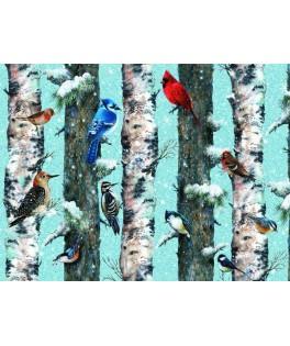 551444 - Puzzle Pájaros de navidad, Giordano Studios, 1000 piezas, Piatnik