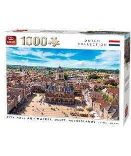 55869 - Puzzle Ayuntamiento y mercado Delft, Países Bajos, 1000 piezas, King International