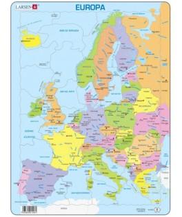 A8 - Puzzle Mapa de Europa, 37 Piezas, Larsen