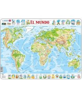 K1 - Puzzle Mapa del Mundo, 107 Piezas, Larsen