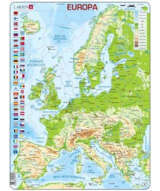 K4 - Puzzle Mapa del Mundo Físico, 80 Piezas, Larsen