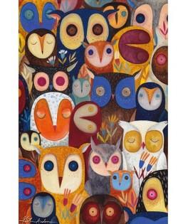 74508 - Puzzle Colage de Buhos, Kurti, 1000 piezas, D-Toys
