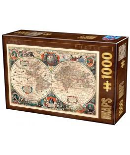 75710 - Puzzle Mapa del Mundo, 1000 piezas, D-Toys