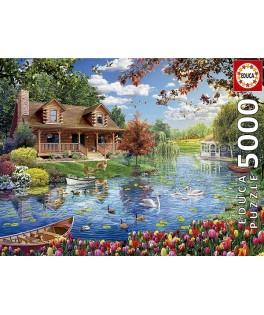 19056 - Puzzle Casita en el Lago, 5000 piezas, Educa